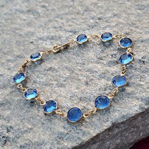 Vtg Swarovski Bright Blue Bezel Crystal Bracelet